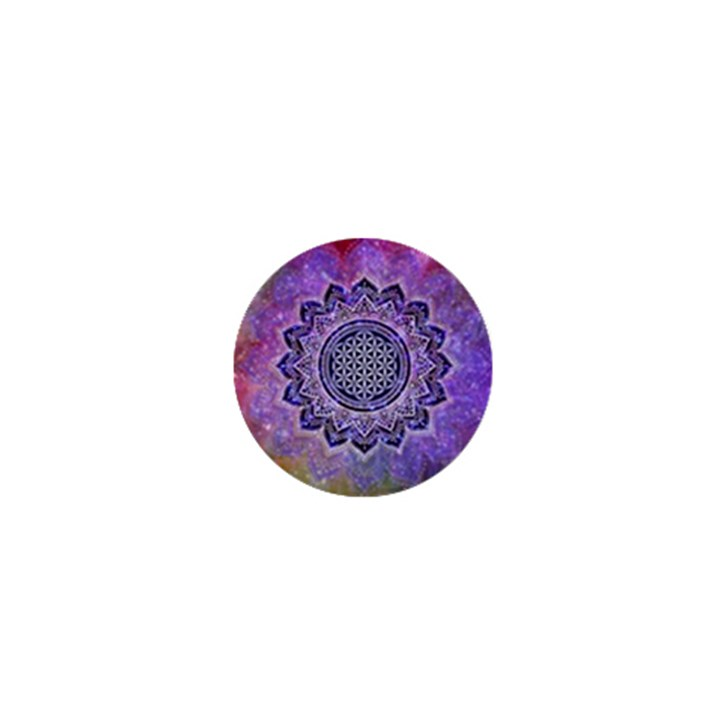 Flower Of Life Indian Ornaments Mandala Universe 1  Mini Buttons