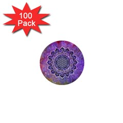 Flower Of Life Indian Ornaments Mandala Universe 1  Mini Buttons (100 Pack)  by EDDArt