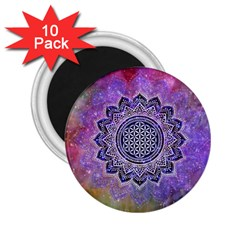 Flower Of Life Indian Ornaments Mandala Universe 2 25  Magnets (10 Pack)  by EDDArt