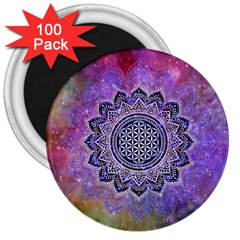 Flower Of Life Indian Ornaments Mandala Universe 3  Magnets (100 Pack) by EDDArt