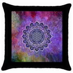 Flower Of Life Indian Ornaments Mandala Universe Throw Pillow Case (black) by EDDArt