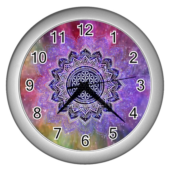 Flower Of Life Indian Ornaments Mandala Universe Wall Clocks (Silver)