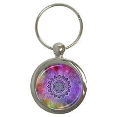 Flower Of Life Indian Ornaments Mandala Universe Key Chains (round)  by EDDArt