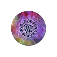 Flower Of Life Indian Ornaments Mandala Universe Magnet 3  (round)