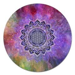 Flower Of Life Indian Ornaments Mandala Universe Magnet 5  (round)