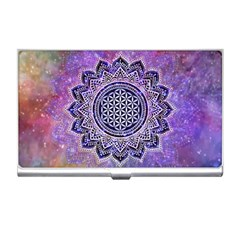Flower Of Life Indian Ornaments Mandala Universe Business Card Holders by EDDArt