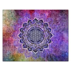 Flower Of Life Indian Ornaments Mandala Universe Rectangular Jigsaw Puzzl by EDDArt