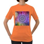 Flower Of Life Indian Ornaments Mandala Universe Women s Dark T-Shirt Front