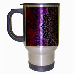 Flower Of Life Indian Ornaments Mandala Universe Travel Mug (silver Gray) by EDDArt