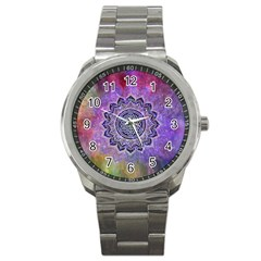 Flower Of Life Indian Ornaments Mandala Universe Sport Metal Watch by EDDArt