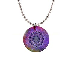 Flower Of Life Indian Ornaments Mandala Universe Button Necklaces by EDDArt