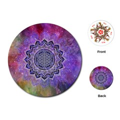 Flower Of Life Indian Ornaments Mandala Universe Playing Cards (round)  by EDDArt