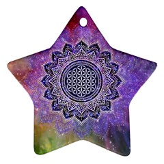 Flower Of Life Indian Ornaments Mandala Universe Star Ornament (two Sides)  by EDDArt