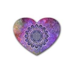Flower Of Life Indian Ornaments Mandala Universe Rubber Coaster (heart)  by EDDArt