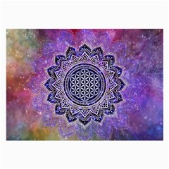 Flower Of Life Indian Ornaments Mandala Universe Large Glasses Cloth (2 Side) by EDDArt