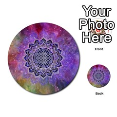 Flower Of Life Indian Ornaments Mandala Universe Multi Purpose Cards (round)  by EDDArt
