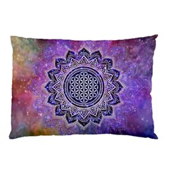 Flower Of Life Indian Ornaments Mandala Universe Pillow Case by EDDArt