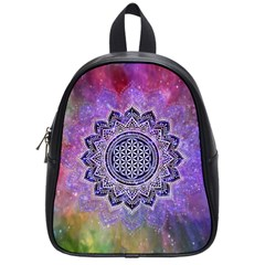 Flower Of Life Indian Ornaments Mandala Universe School Bags (small)  by EDDArt