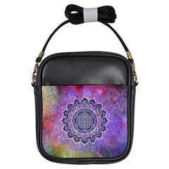 Flower Of Life Indian Ornaments Mandala Universe Girls Sling Bags by EDDArt