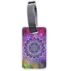 Flower Of Life Indian Ornaments Mandala Universe Luggage Tags (one Side)  by EDDArt