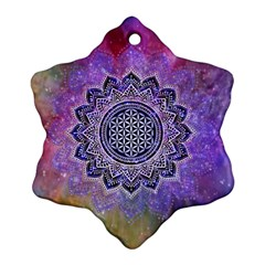 Flower Of Life Indian Ornaments Mandala Universe Ornament (snowflake)  by EDDArt