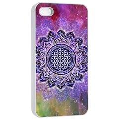 Flower Of Life Indian Ornaments Mandala Universe Apple Iphone 4/4s Seamless Case (white) by EDDArt