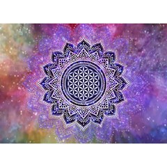 Flower Of Life Indian Ornaments Mandala Universe Birthday Cake 3d Greeting Card (7x5) by EDDArt
