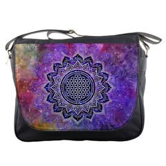 Flower Of Life Indian Ornaments Mandala Universe Messenger Bags by EDDArt