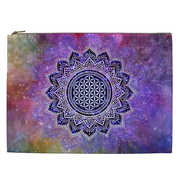 Flower Of Life Indian Ornaments Mandala Universe Cosmetic Bag (XXL)