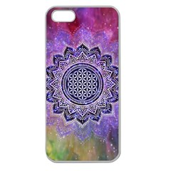 Flower Of Life Indian Ornaments Mandala Universe Apple Seamless Iphone 5 Case (clear) by EDDArt