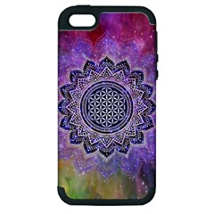 Flower Of Life Indian Ornaments Mandala Universe Apple Iphone 5 Hardshell Case (pc+silicone) by EDDArt