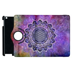 Flower Of Life Indian Ornaments Mandala Universe Apple Ipad 2 Flip 360 Case by EDDArt