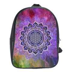 Flower Of Life Indian Ornaments Mandala Universe School Bags (xl)