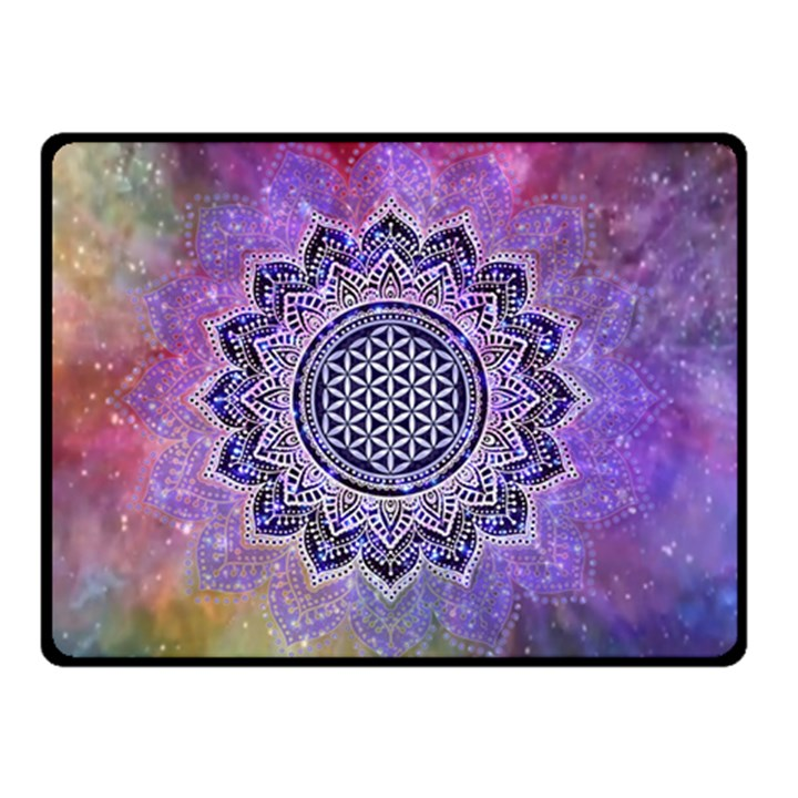 Flower Of Life Indian Ornaments Mandala Universe Double Sided Fleece Blanket (Small)