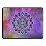 Flower Of Life Indian Ornaments Mandala Universe Double Sided Fleece Blanket (Small)  45 x34 Blanket Back