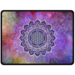 Flower Of Life Indian Ornaments Mandala Universe Double Sided Fleece Blanket (large)  by EDDArt