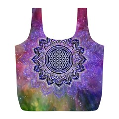 Flower Of Life Indian Ornaments Mandala Universe Full Print Recycle Bags (l)  by EDDArt
