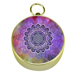 Flower Of Life Indian Ornaments Mandala Universe Gold Compasses by EDDArt