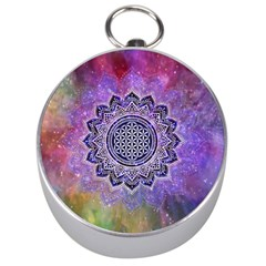 Flower Of Life Indian Ornaments Mandala Universe Silver Compasses by EDDArt
