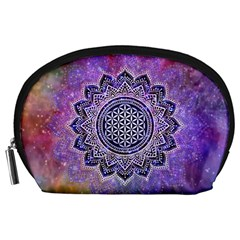 Flower Of Life Indian Ornaments Mandala Universe Accessory Pouches (large)  by EDDArt