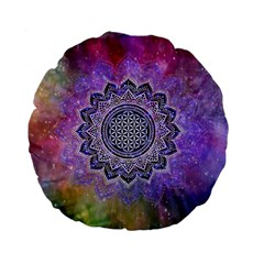 Flower Of Life Indian Ornaments Mandala Universe Standard 15  Premium Flano Round Cushions