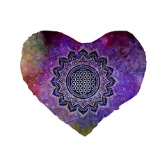 Flower Of Life Indian Ornaments Mandala Universe Standard 16  Premium Flano Heart Shape Cushions by EDDArt