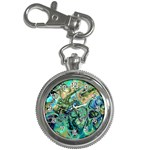 Fractal Batik Art Teal Turquoise Salmon Key Chain Watches Front