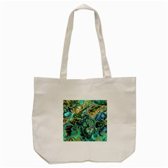 Fractal Batik Art Teal Turquoise Salmon Tote Bag (cream)