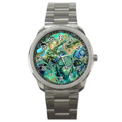 Fractal Batik Art Teal Turquoise Salmon Sport Metal Watch by EDDArt