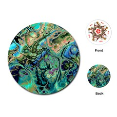 Fractal Batik Art Teal Turquoise Salmon Playing Cards (round)  by EDDArt