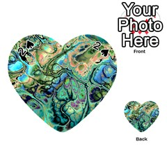 Fractal Batik Art Teal Turquoise Salmon Playing Cards 54 (heart)  by EDDArt