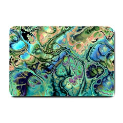 Fractal Batik Art Teal Turquoise Salmon Small Doormat  by EDDArt