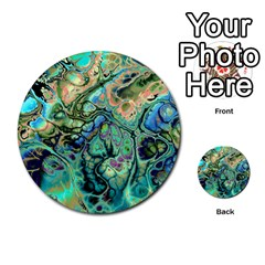Fractal Batik Art Teal Turquoise Salmon Multi Purpose Cards (round)  by EDDArt