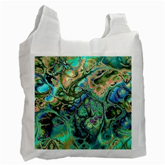 Fractal Batik Art Teal Turquoise Salmon Recycle Bag (one Side) by EDDArt